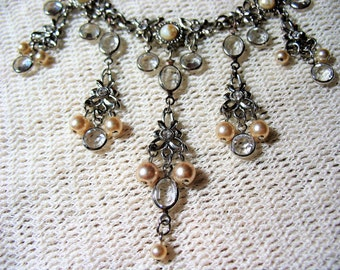 Vintage Victorian Edwardian Wedding Necklace and Earrings Set