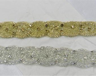 1 yard Rhinestone trim,applique trim, Bridal Applique, DIY Weddings, trim, rhinestone applique, crystal sash, bridal sash hand made #Ji 1432
