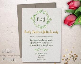 printable wedding invitation printable eco wedding natural wedding invite greenery wreath monogram wedding invitation leafy green wedding