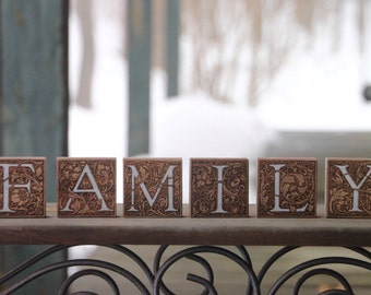 FAMILY walnut wood blocks - classic, rustic home decor - Valentine's Day, family gifts - free ship in US!