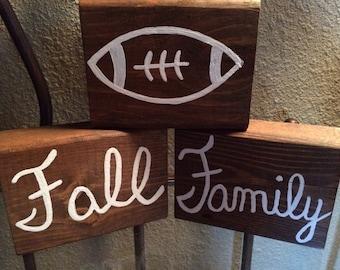 Fall, Football, & Family Wooden Block Set