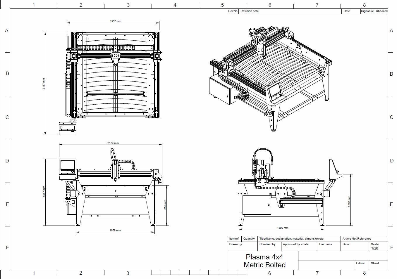1250mm X 1250mm 4x4 Feet Cnc Plasma Table Diy Plans