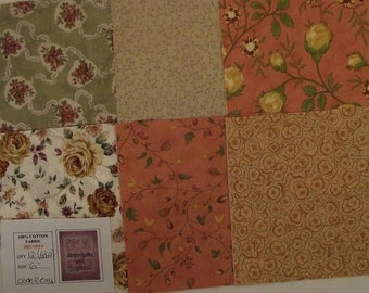 100% Cotton quilting fabric pre-cut into 12 x 6 inch squares