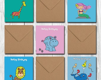 Birthday Cards Set for kids, Assorted Birthday Cards for boys girls, Funny Cute Party Cards, Greetings Cards Pack for Baby Toddler Children