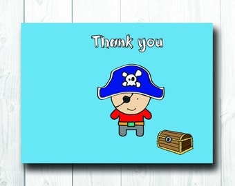Children's Thank you Card, Pirate Card, Kid's Birthday Party, Greetings Cards for boys, Cute Funny Pirate Thank you card, Blank inside