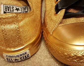 Custom made Gold kids Converse