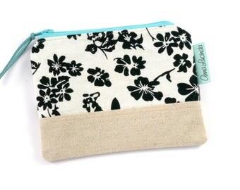 Handmade Floral Coin Purse, Zipper Bag, Purse, Coin Pouch, Zipper Wallet, Change Purse, Card Holder, Small Zipper Pouch, Gift for Her