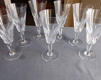 Baccarat 7 fluted champagne glasses Carcassonne model signed crystal