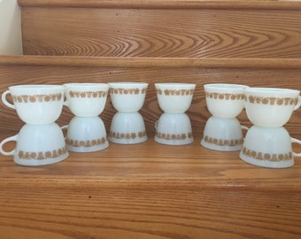 12 Vintage 1970s Pyrex Butterfly Gold Mugs or Cups