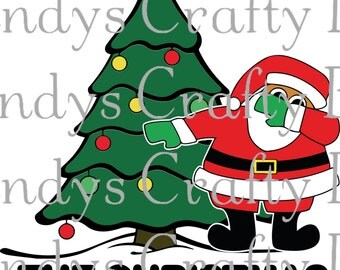 Digital file SVG,PNG and DXF  Dabbing around the Christmas tree ( bigger santa)