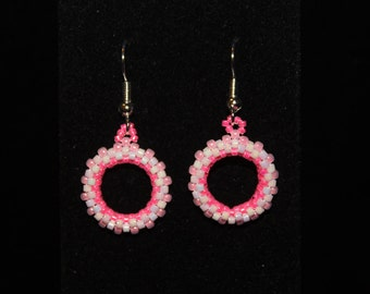 Pink and White circular earrings