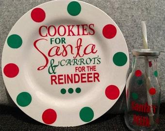 Santa Cookies Plate & Milk Cup set