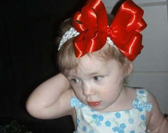 double layered red satin bow