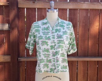 Vintage 1960s Green Train Print Shirt