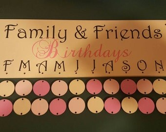 Wooden wall birthday and occasions calendar