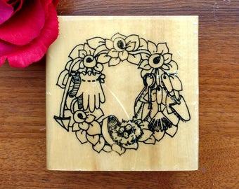 Gardening Wreath Rubber Stamp by Anita's, Gardener, Gloves Trowel Bird Nest Flowers