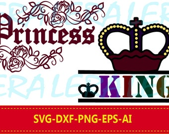60 % OFF, King SVG, King Crown Svg, Princess SVG, Crown Svg, Clipart png Files, Svg, Dxf, Eps, png for Cutting Machines Cameo or Cricut