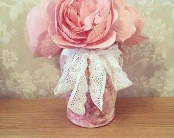 Vintage Floral Lace Jar Vase/Candle Holder