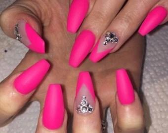 Pink flamingo matte gel nails with gems • fake nails • press on nails • press ons • false nails • glue on nails • gel nails