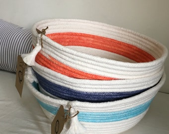 Hand-Dyed Coiled Rope Basket