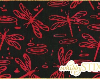 Dragonfly Fabric By the Yard, Red Black Dragonfly Cantik Batik Shania Sunga Kaleidoscope CABA-1001 354, BTY Dragonfly Tie Dye Material