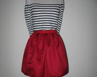 Cotton pleated skirt rigino red rim