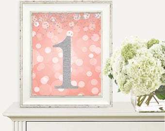 Birthday Print, 1st Birthday Party Sign, Number 1, 1st Birthday Party, First Birthday, Coral & Silver Glitter, Printable Party Decorations