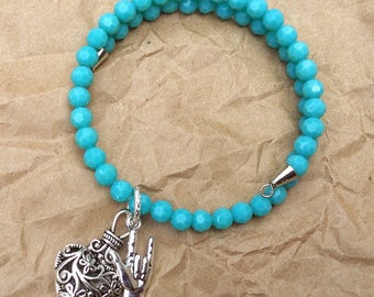 ILY n Turquoise Beads Memory Bracelet with Fancy Heart Charm.