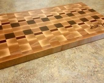 Custom maple end grain inlaid cutting board / butcher block
