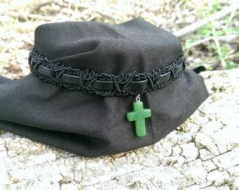 Green Jade Cross Pendant on Black Band Choker Necklace