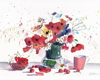 Red Flowers Original Watercolor Painting Still life Home Decor Fine Art