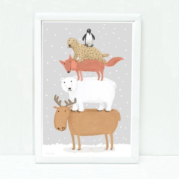 Pyramid of Arctic moose, polar bear, fox and seal art print for kids, nursery wall art, kids decor gray, nursery decor, art for kids rooms.