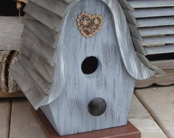 Heart Gray Birdhouse, Wooden Birdhouse, Painted Birdhouse, Outdoor Birdhouse, Unique Birdhouse, Bird House