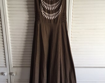 60's Brown and white halter praire dress