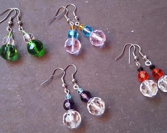 Beaded faceted glass drop earrings, Beaded earrings, Drop earrings, Dangle earrings, Trio, Glass beads