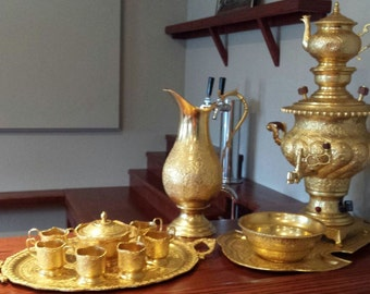 Vintage Persian Style Samovar Tea Set - Gold Plated
