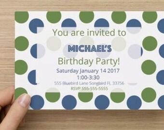 Polka Dot Birthday Invitation Kit