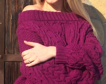 Cable Knit Sweater,Purple Sweater, Handmade Sweater, Knitted Jumper, Pullover Sweater, Cable Knit Jumper, Off Shoulder Sweater,Cable Sweater
