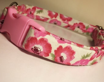 Dog Collar, Pink Floral Handmade Adjustable Dog Collar