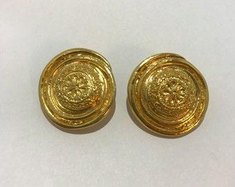 Yves Saint Laurent YSL vintage 1980 french designer jewelry gold clip earrings clip earrings