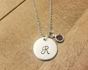 Personalized Initial Monogram Birthstone Necklace