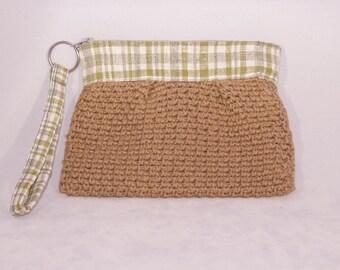 Women's Handmade Clutch // Crochet Wristlet with plaid and tan