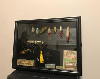 Garrett Creek Chub, Heddon, Antique Fishing Lure Display Case-No Lures Included