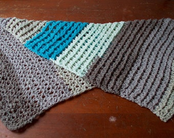 Gray and Blue  Lightweight Crocheted Shawl/Lapghan