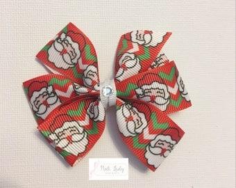 Santa pinwheel bow, santa, pinwheel, chevron, girl bows, christmas, holiday, christmas bow, holiday bow, festive bow, santa claus bow