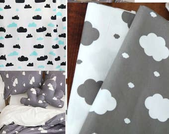 cloud fabric/baby fabric/baby blanket fabric/Scandinavian kids toddler fabric/child curtain bedding fabric/cloud rain fabric/bedding cushion