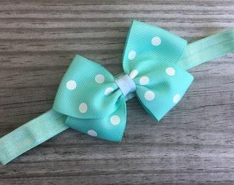 Aqua Headband / Aqua Polka Dot Bow /Baby Headband / Toddler Headband