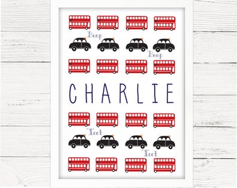 Boys London Theme Personalised Room Decor. Red Bus and Taxi Print. Nursery Decor, Wall Art, Transport Theme, Cars, Great Gift