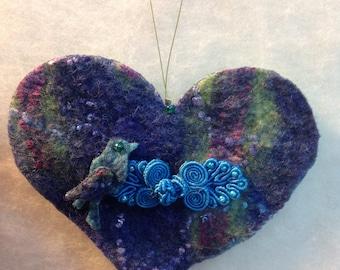 Handmade felted wool love heart