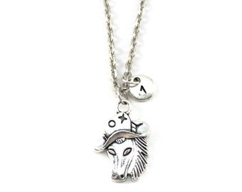 COWBOY HORSE charm necklace, horse jewelry, personalized charm necklace, initial necklace, personalized jewel, charm neckalce, initial jewel